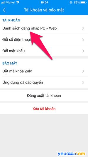 Cách đăng xuất Zalo từ xa 3