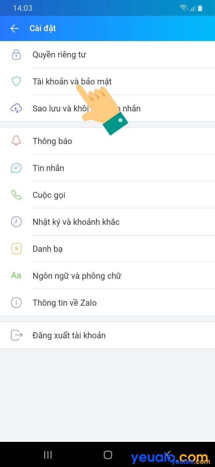 Cách đặt mật khẩu cho Zalo trên Android 2