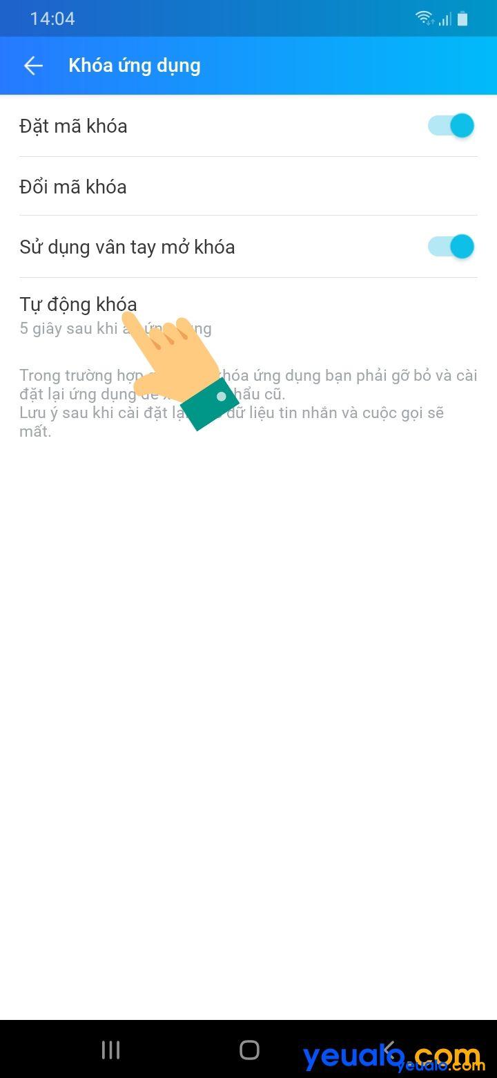 Cách đặt mật khẩu cho Zalo trên Android 5