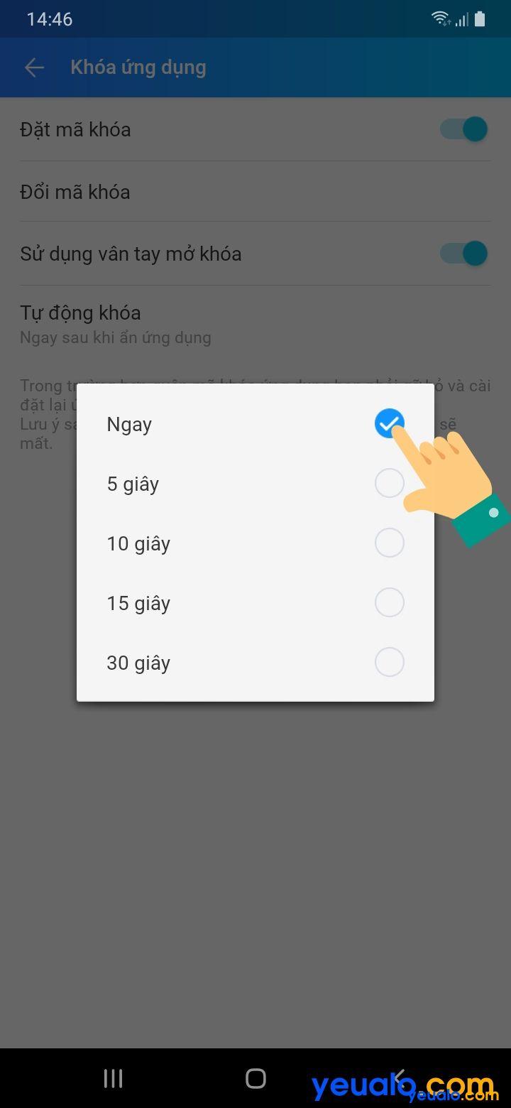 Cách đặt mật khẩu cho Zalo trên Android 6