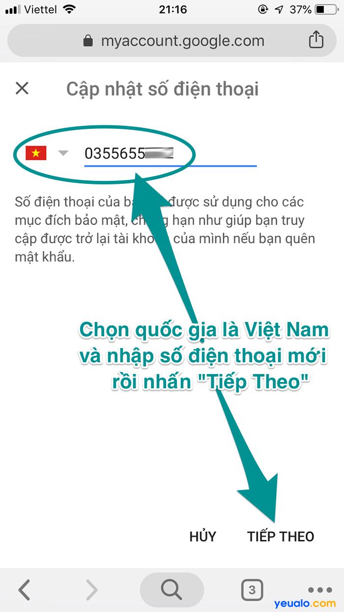 Cách đổi số điện thoại khôi phục Gmail 4