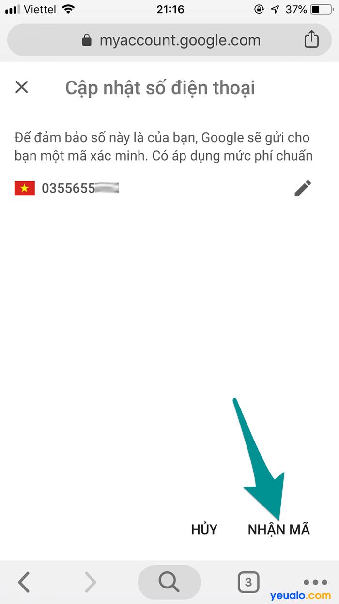 Cách đổi số điện thoại khôi phục Gmail 5