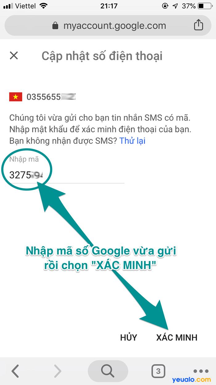 Cách đổi số điện thoại khôi phục Gmail 6