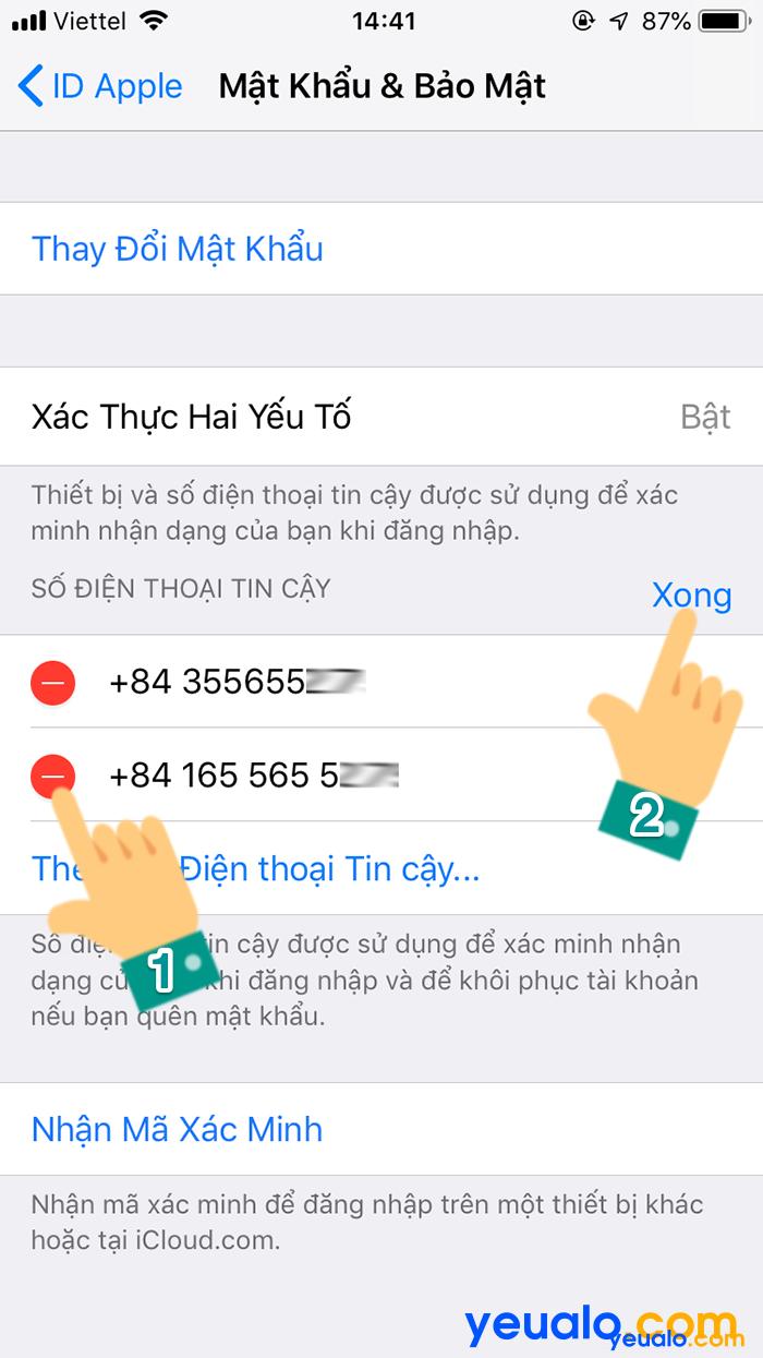 Cách đổi số điện thoại xác minh iCloud 9