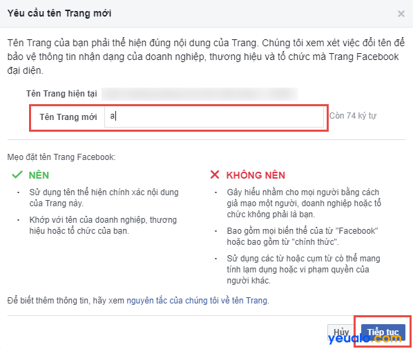 Cách đổi tên Fanpage Facebook 2