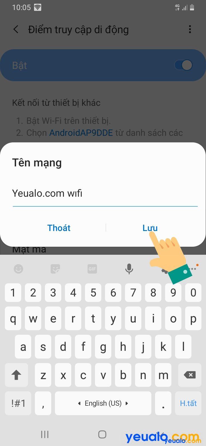 Cách đổi tên, mật khẩu điểm phát Wifi Samsung 7