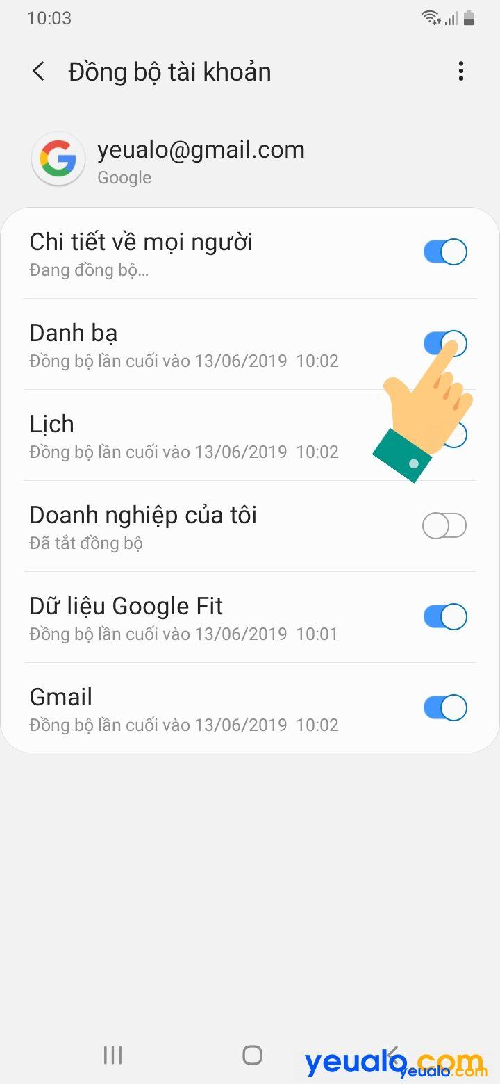 Cách đồng bộ danh bạ Samsung 9