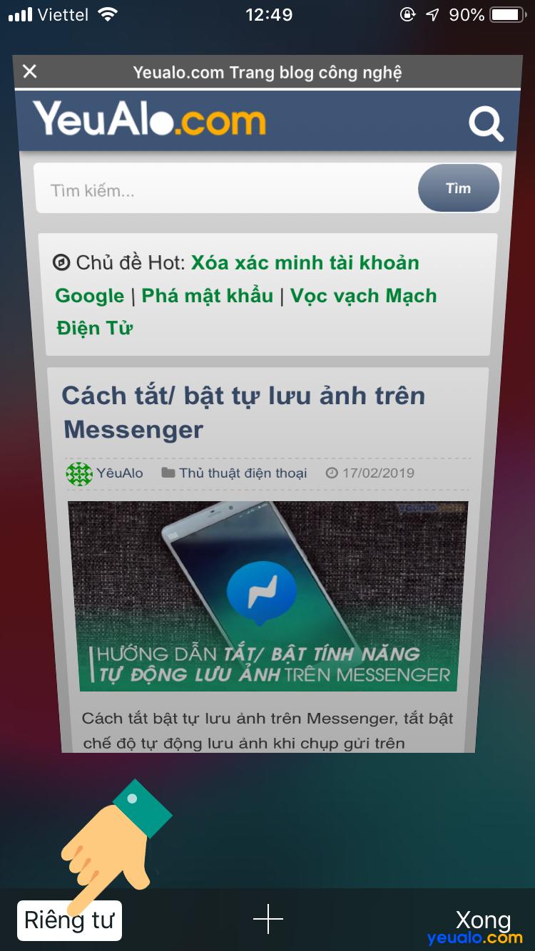 Cách đóng tab ẩn danh Safari trên iPhone 7