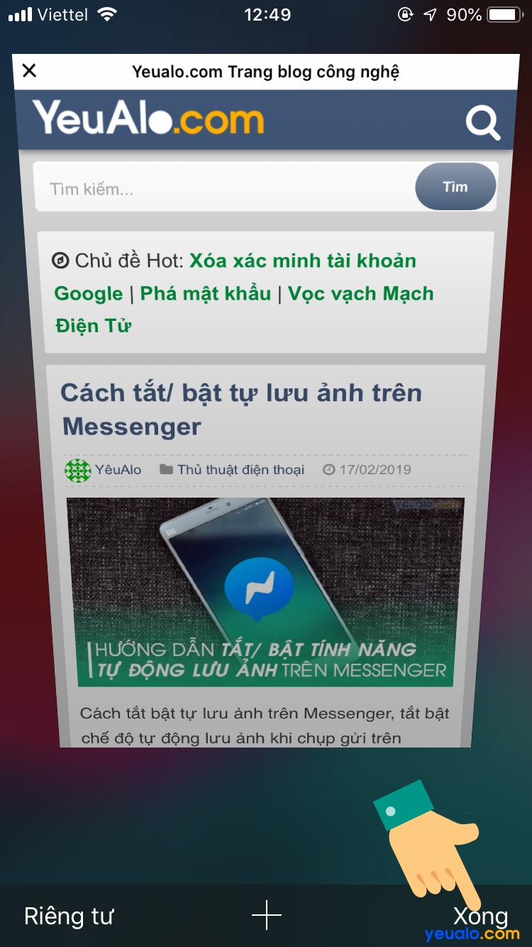 Cách đóng tab ẩn danh Safari trên iPhone 8