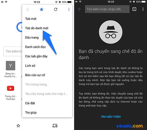 Cách duyệt web ẩn danh Google Chrome trên điện thoại iPhone