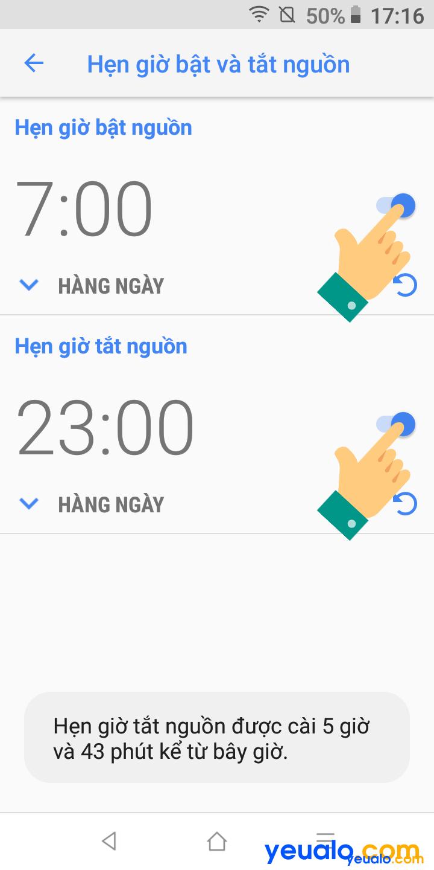 Cách hẹn giờ tắt mở nguồn trên Vsmart 4