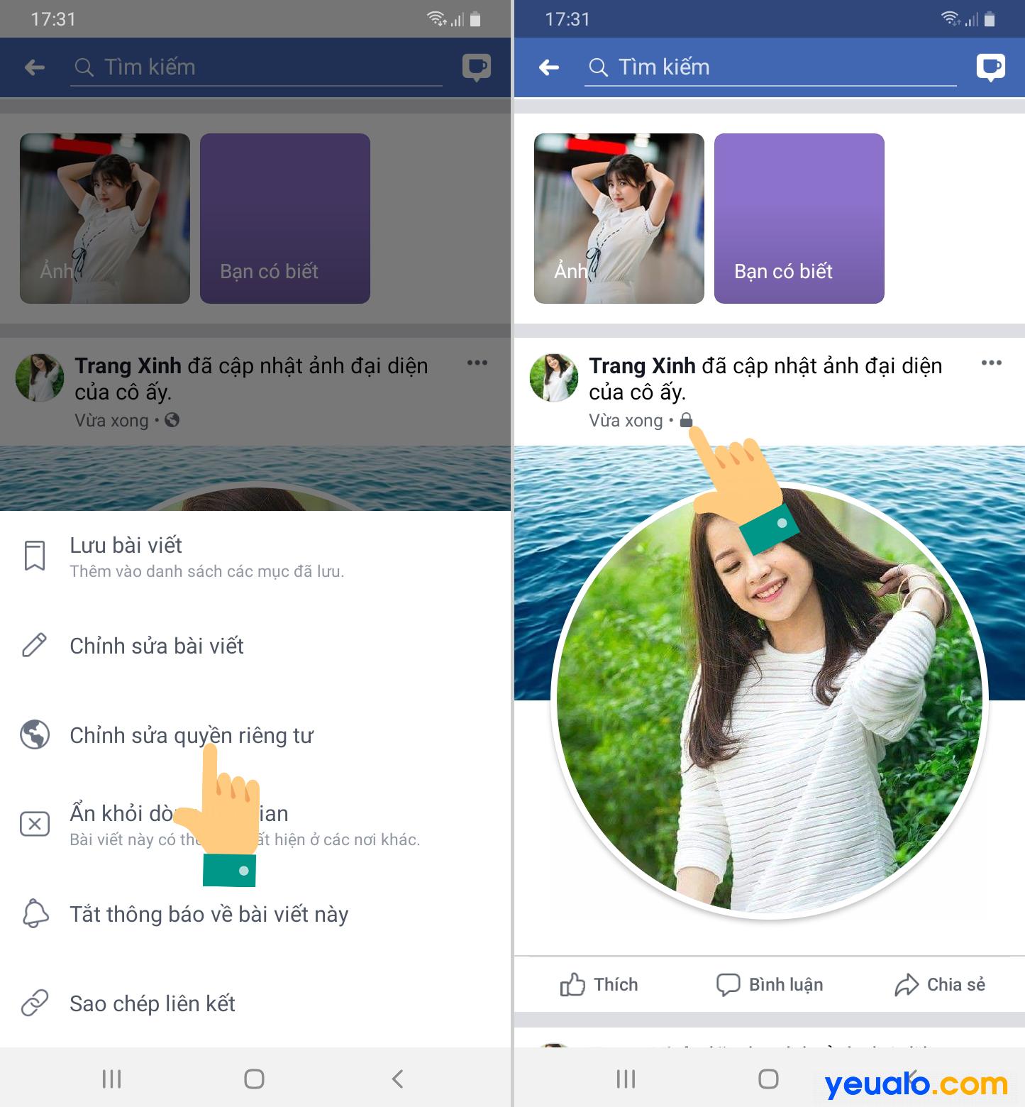 Cách khóa ảnh đại diện Facebook không cho like bình luận trên điện thoại