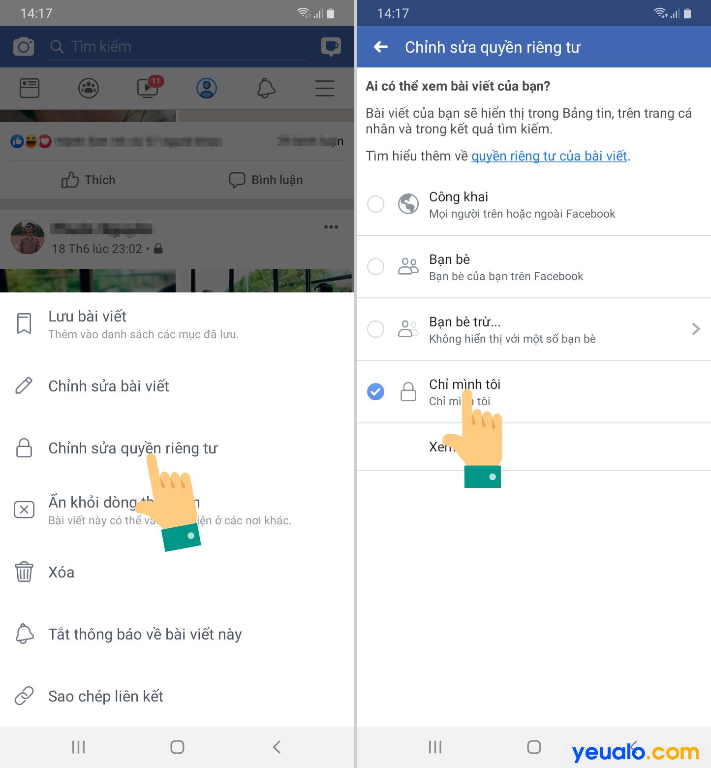 Cách khóa tường Facebook không cho người khác xem trên điện thoại 2