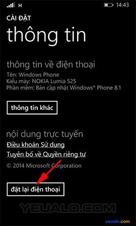 Cách khôi phục cài đặt gốc điện thoại Lumia 3