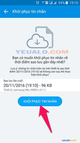 Cách khôi phục tin nhắn Zalo trên điện thoại 2