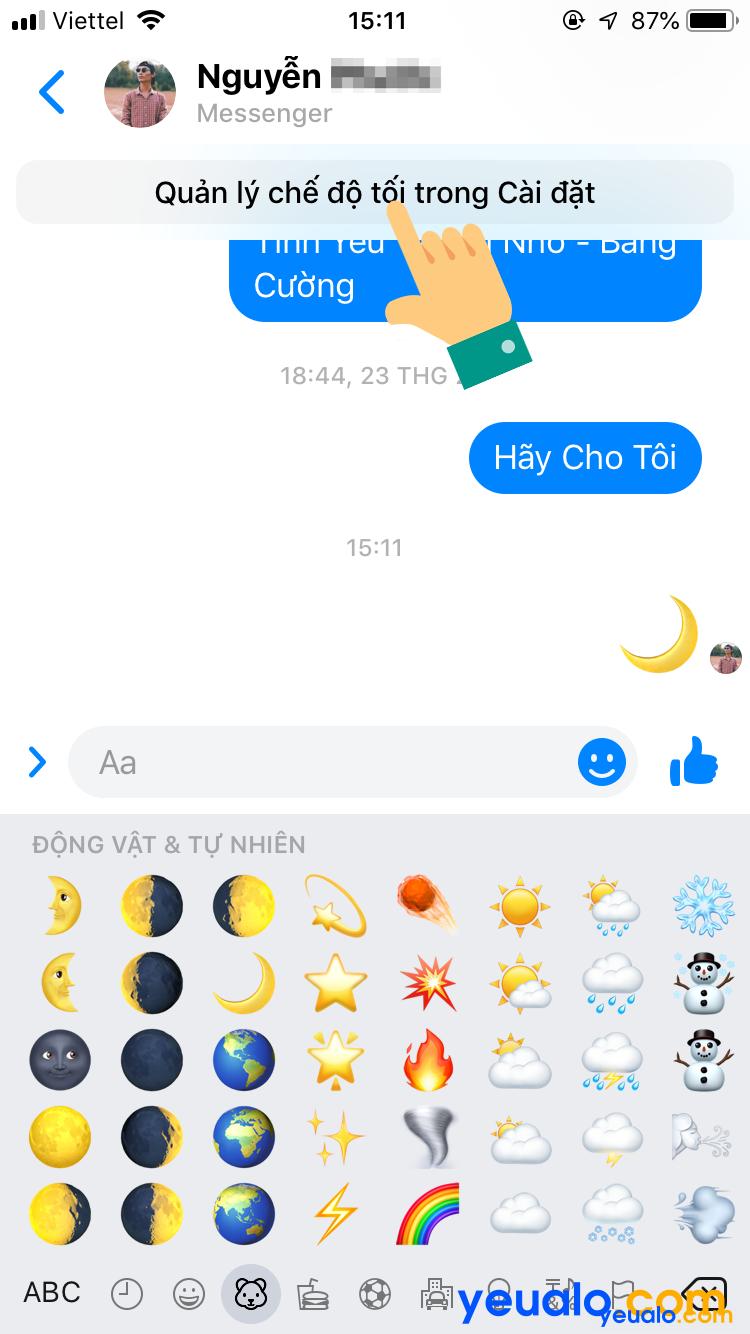 Cách kích hoạt chế độ tối cho Messenger trên iPhone 4