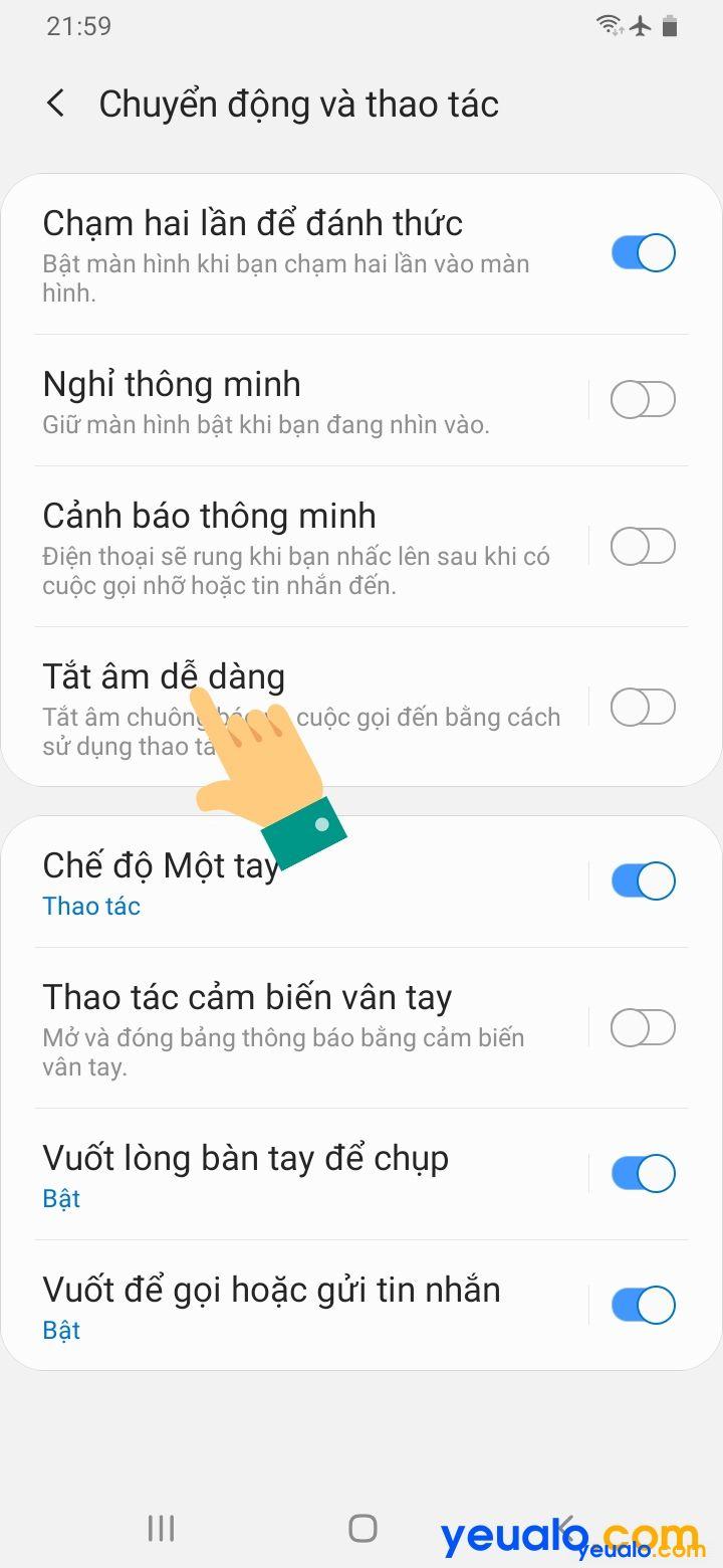 Cách lật úp điện thoại để tắt chuông trên Samsung 4