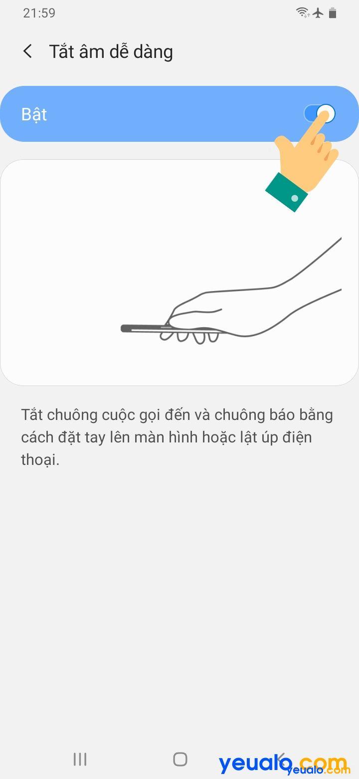 Cách lật úp điện thoại để tắt chuông trên Samsung 5