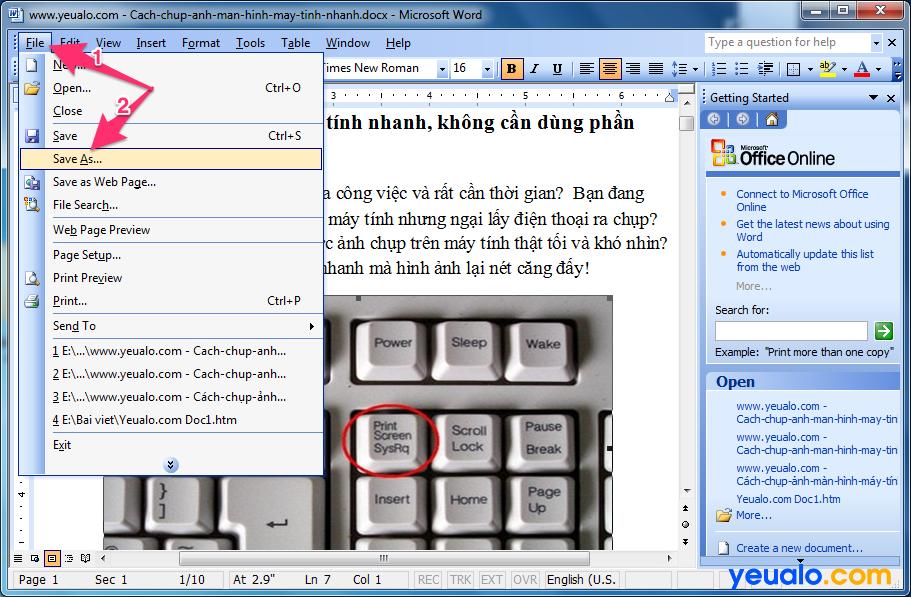Cách lấy ảnh từ file Word 2003