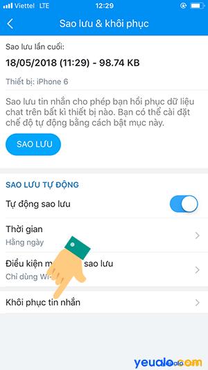 Cách lấy lại tin nhắn đã xóa trên Zalo 4