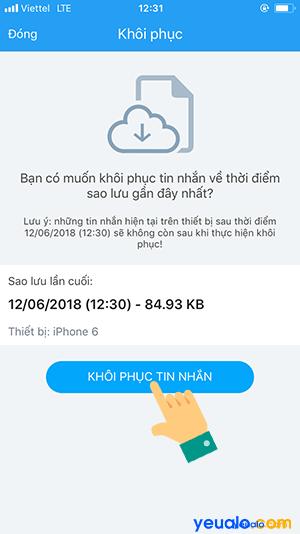 Làm như thế nào để khôi phục lại tin nhắn đã xóa trên Zalo 5