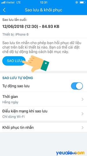 Làm như thế nào để khôi phục lại tin nhắn đã xóa trên Zalo 7
