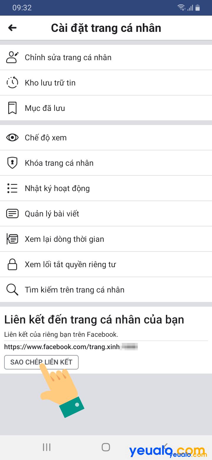 Cách lấy link Facebook của mình trên điện thoại 4