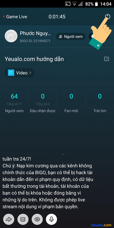 Cách live stream màn hình điện thoại trên Bigo 8