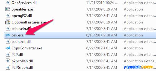 Cách mở bàn phím ảo của máy tính bằng file osk.exe trong ổ đĩa C