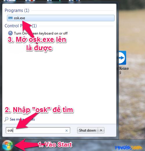 Cách mở bàn phím ảo của máy tính từ hộp Search