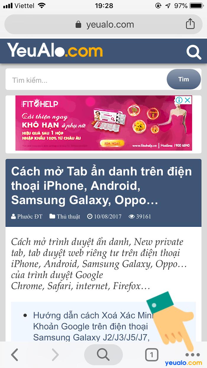 Cách mở tab ẩn danh trên Chrome điện thoại 2