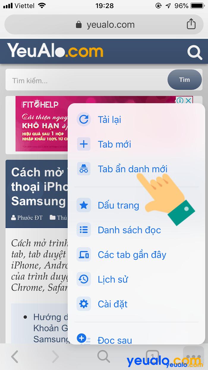 Cách mở tab ẩn danh trên Chrome điện thoại 3