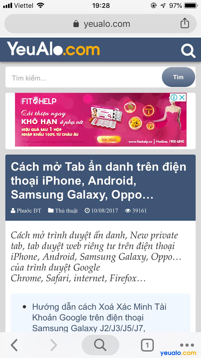 Cách mở tab ẩn danh trên Chrome điện thoại 7