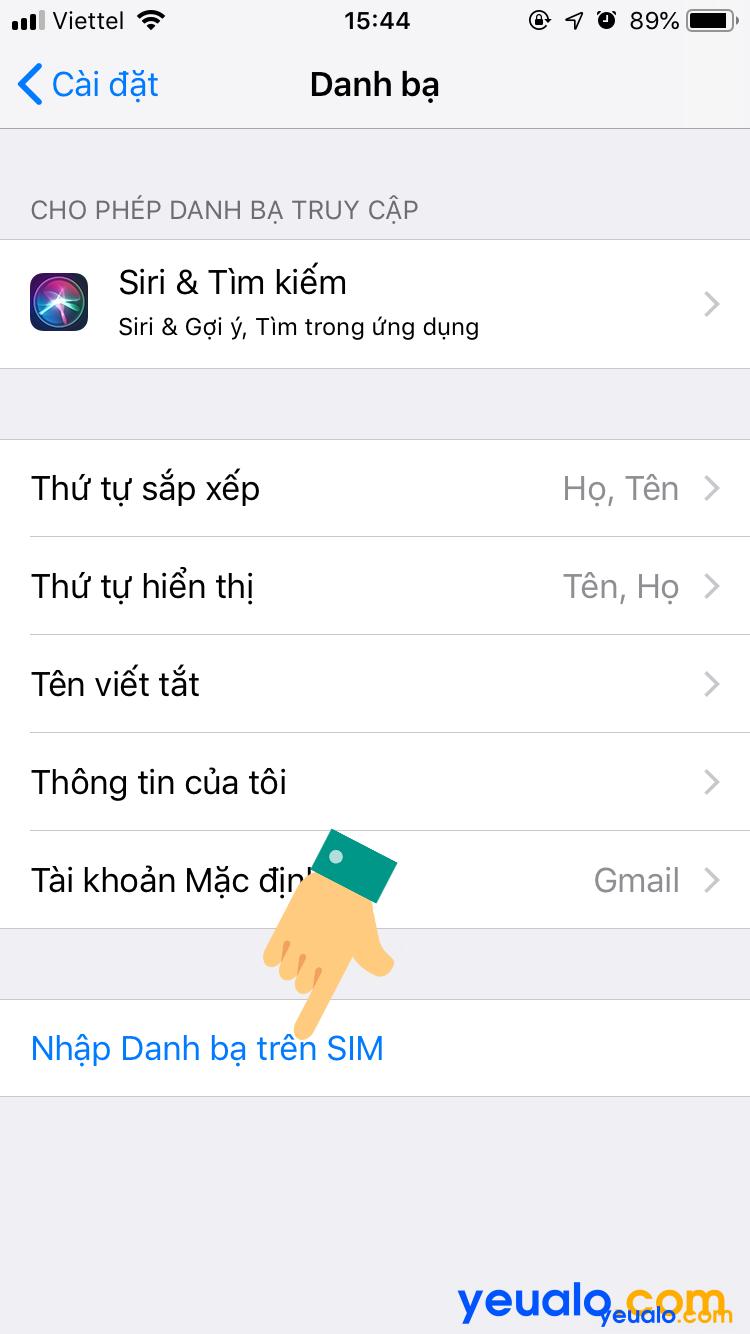 Cách nhập danh bạ từ sim vào iPhone 3