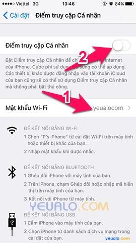 Cách phát Wifi trên điện thoại iPhone 3