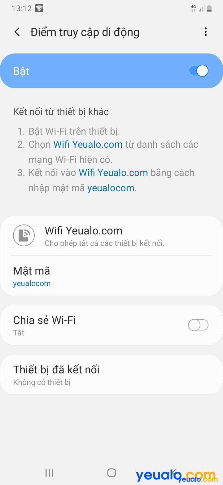 Cách chia sẻ Wifi từ Samsung 6
