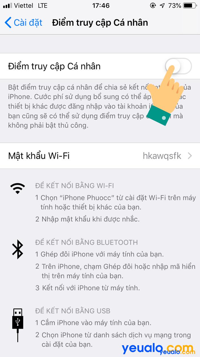 Cách phát Wifi từ iPhone Xs Max 3