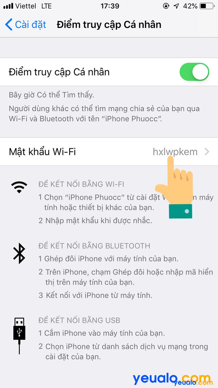 Cách phát Wifi từ iPhone 6 5