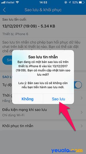 Cách sao lưu khôi phục tin nhắn Zalo trên iPhone 5