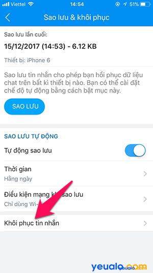 Cách sao lưu khôi phục tin nhắn Zalo trên iPhone 6