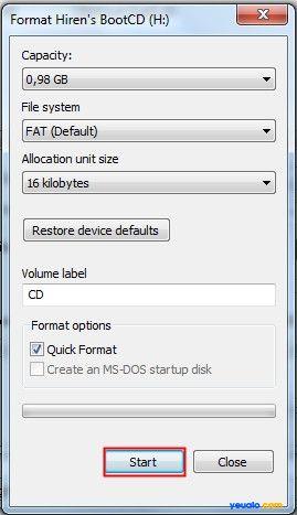 Cách tạo USB Hiren Boot 13