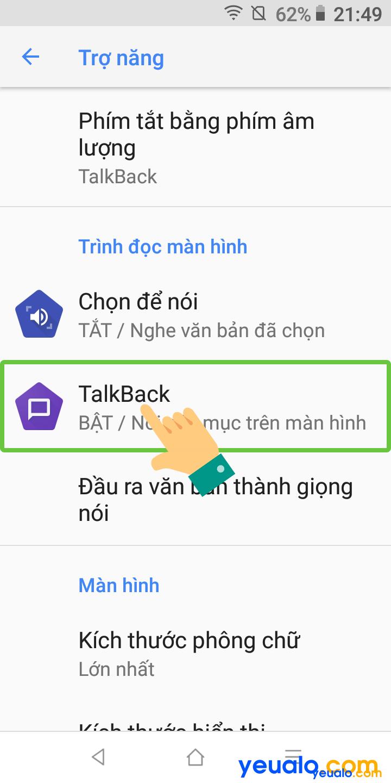 Cách tắt TalkBack trên Vsmart 3