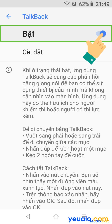 Cách tắt TalkBack trên Vsmart 4