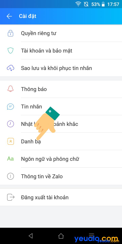 Cách tắt bật Tự động cập nhật danh bạ trên Zalo 3