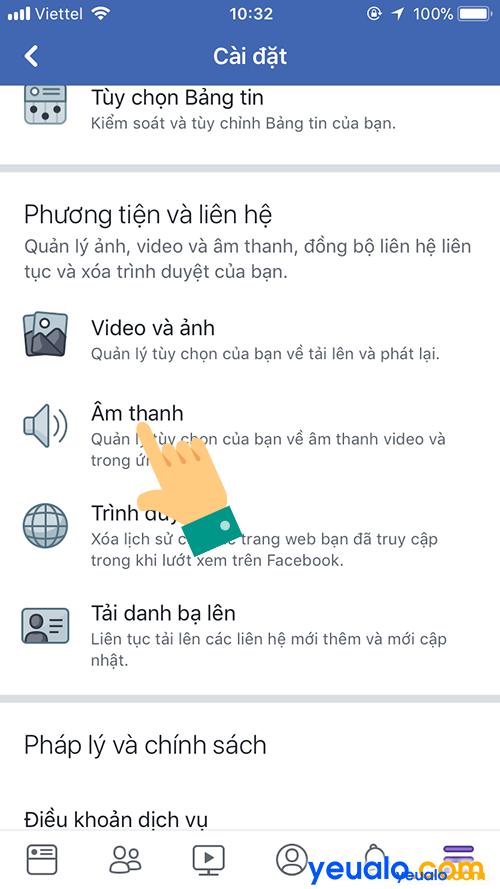 Cách Tắt Bật âm thanh video tự phát trên Facebook 2