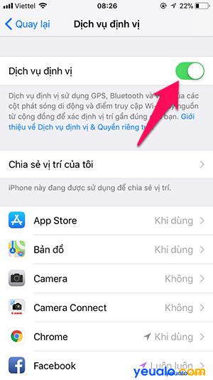 Cách tắt bật định vị iPhone 4