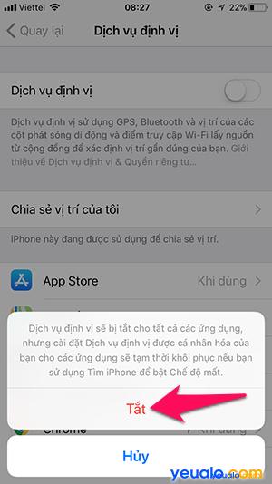 Cách tắt bật định vị iPhone 5