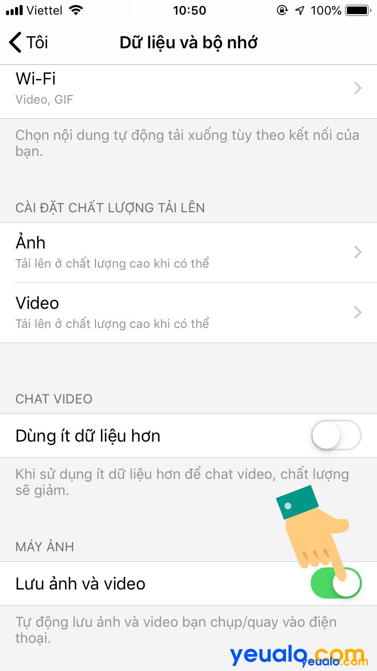 Cách tắt/ bật tự lưu ảnh trên Messenger iPhone 4