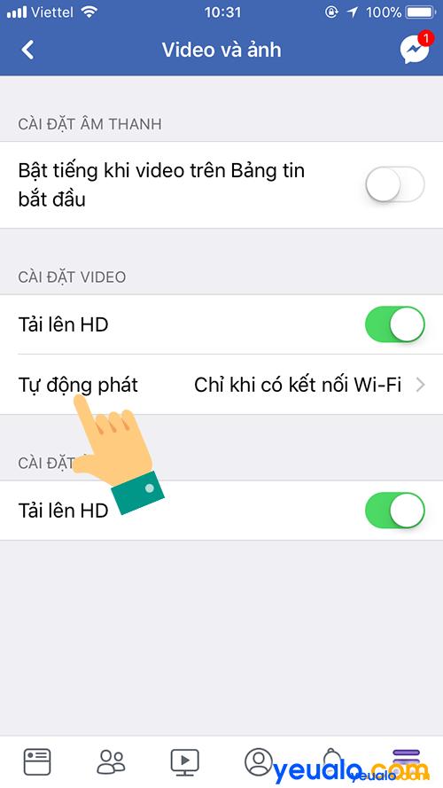 Cách Tắt Bật động tự phát video Facebook trên điện thoại 3