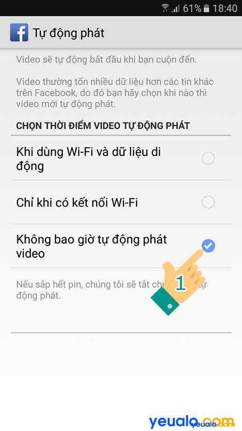 Tắt Bật động tự phát video Facebook Android 8